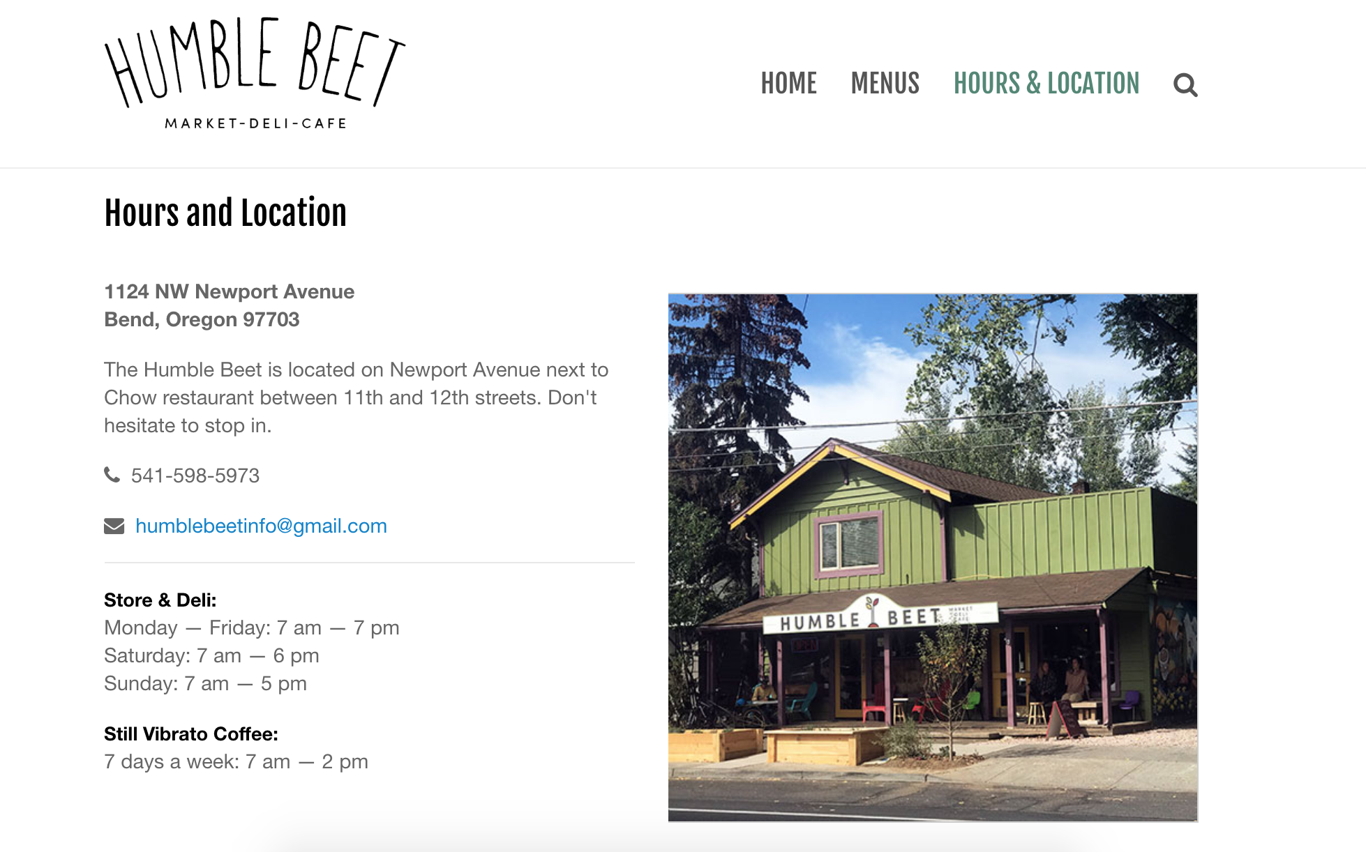 The Humble Beet hours and location