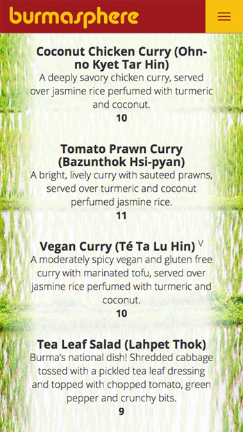 Burmasphere menu